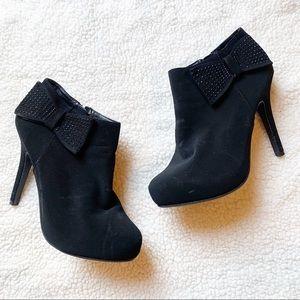 Madeline Stuart Black Suede Bow Heels